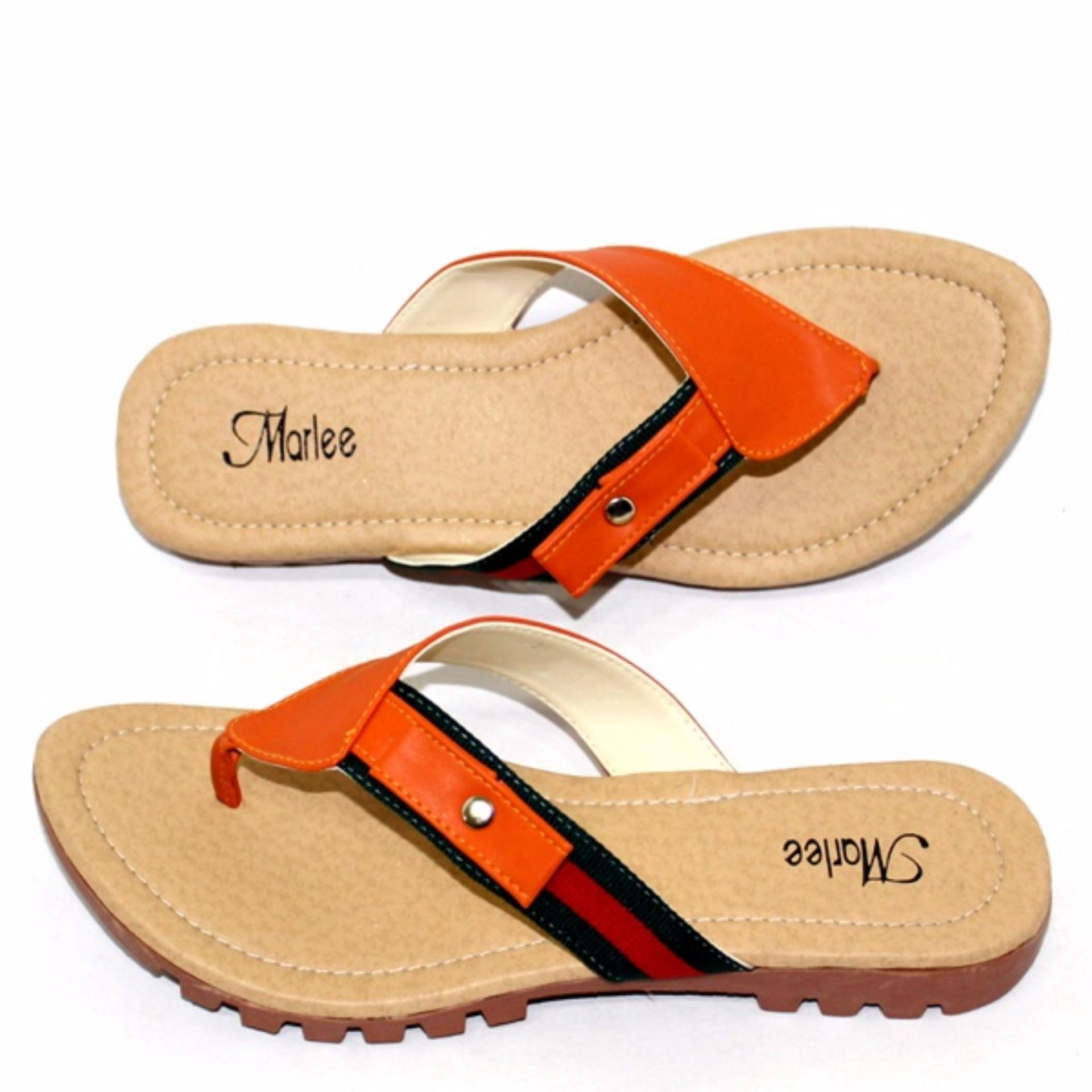 Women Marlee Sandal Wanita Flatbed Formal Rc 03 Flip Flat Jjt 09 Orange