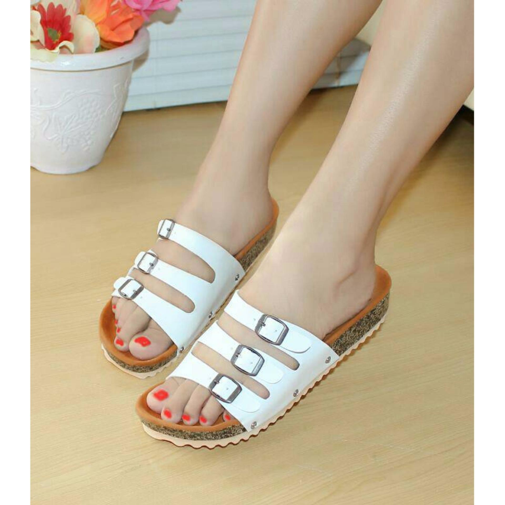 Beli Sandal Santai 3 Strip Nafiza Putih St 03 Kredit Jawa Barat
