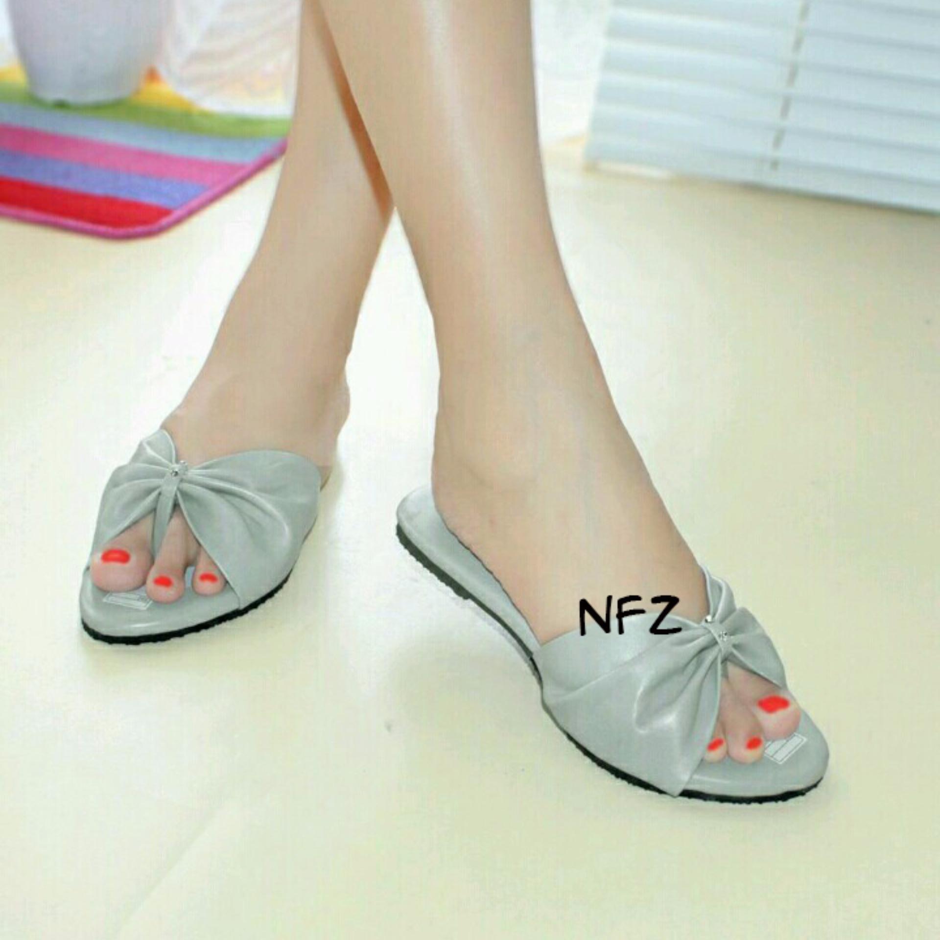 Review Sandal Teplek Selop Pita Besar Gray Nfz Pitabesar