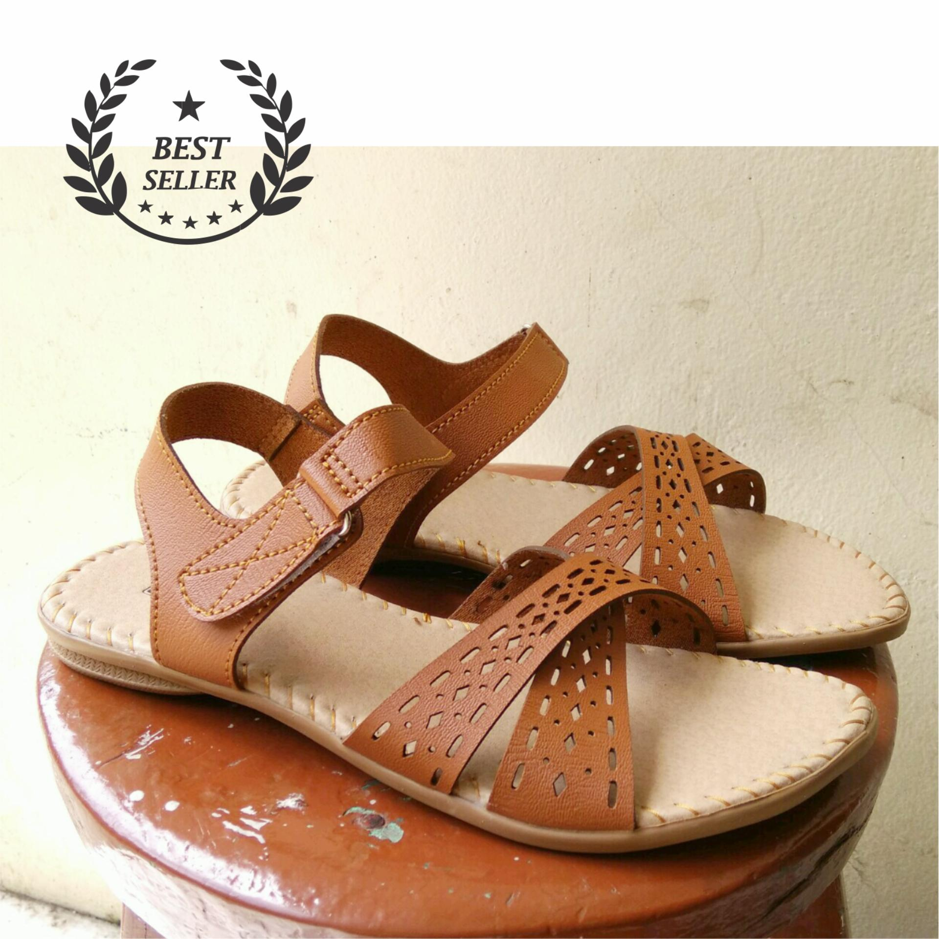 Promo Sandal Wanita Kadonik Laser Cut Leather Type Jingga Best Seller Kadonik Terbaru