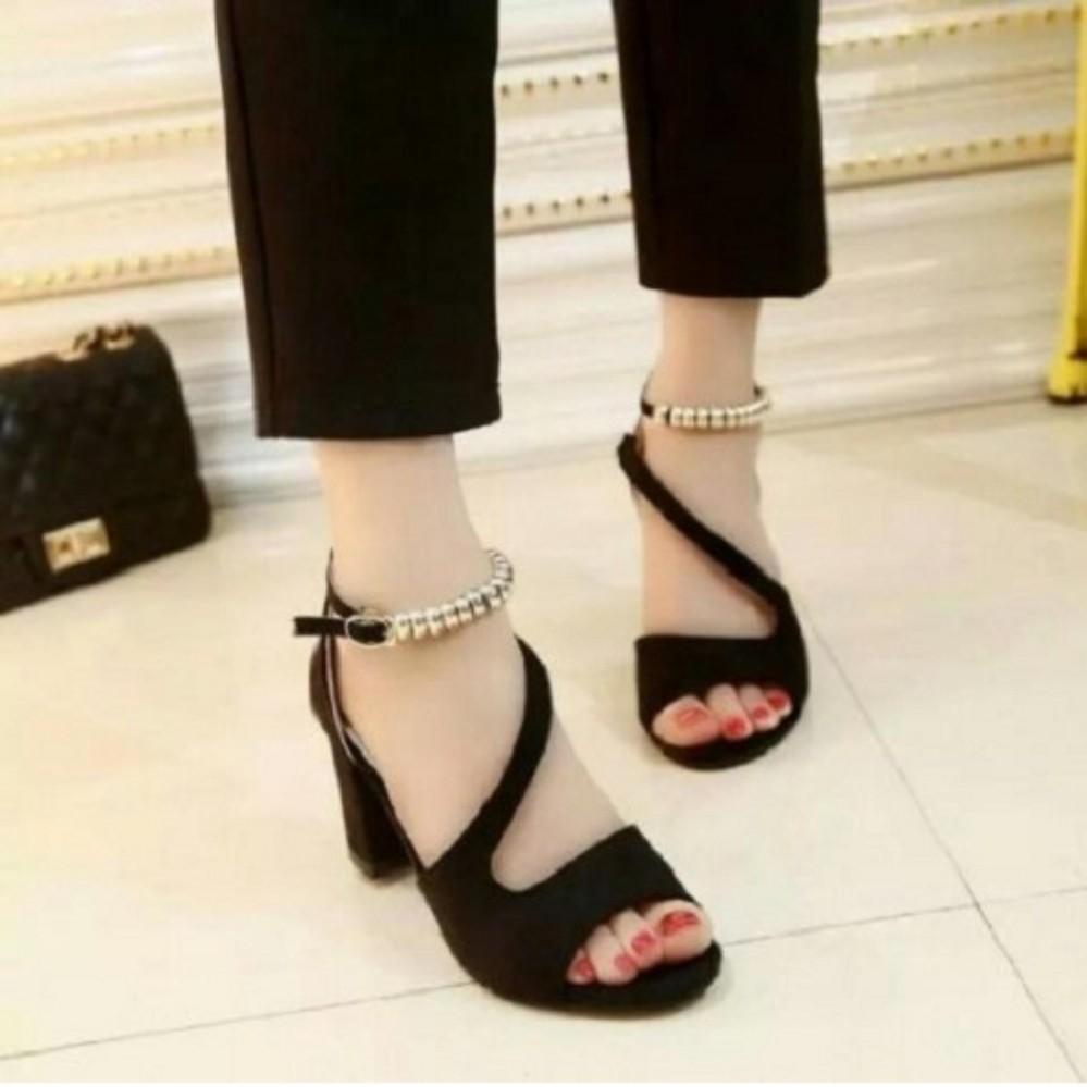 Sandal Wanita Model Terbaru Heels Gelang AC32 Hitam