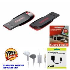 Sandisk Flasdisk Cruzer Blade USB 2.0 16GB Original + Bonus Kabel Otg Usb Micro + Handsfree Samsung