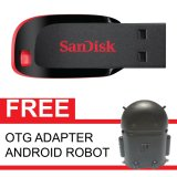 Promo Sandisk Flash Disk Cruzer Blade 32 Gb Gratis Otg Adapter Android Robot Hitam Murah