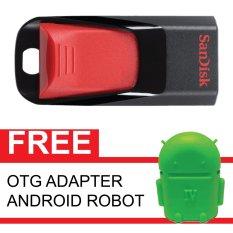 SanDisk Flash Disk Cruzer Edge 16 GB + Gratis OTG Adapter Android Robot Hijau