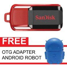 SanDisk Flash Disk Cruzer Switch 32 GB + Gratis OTG Adapter Android Robot Biru