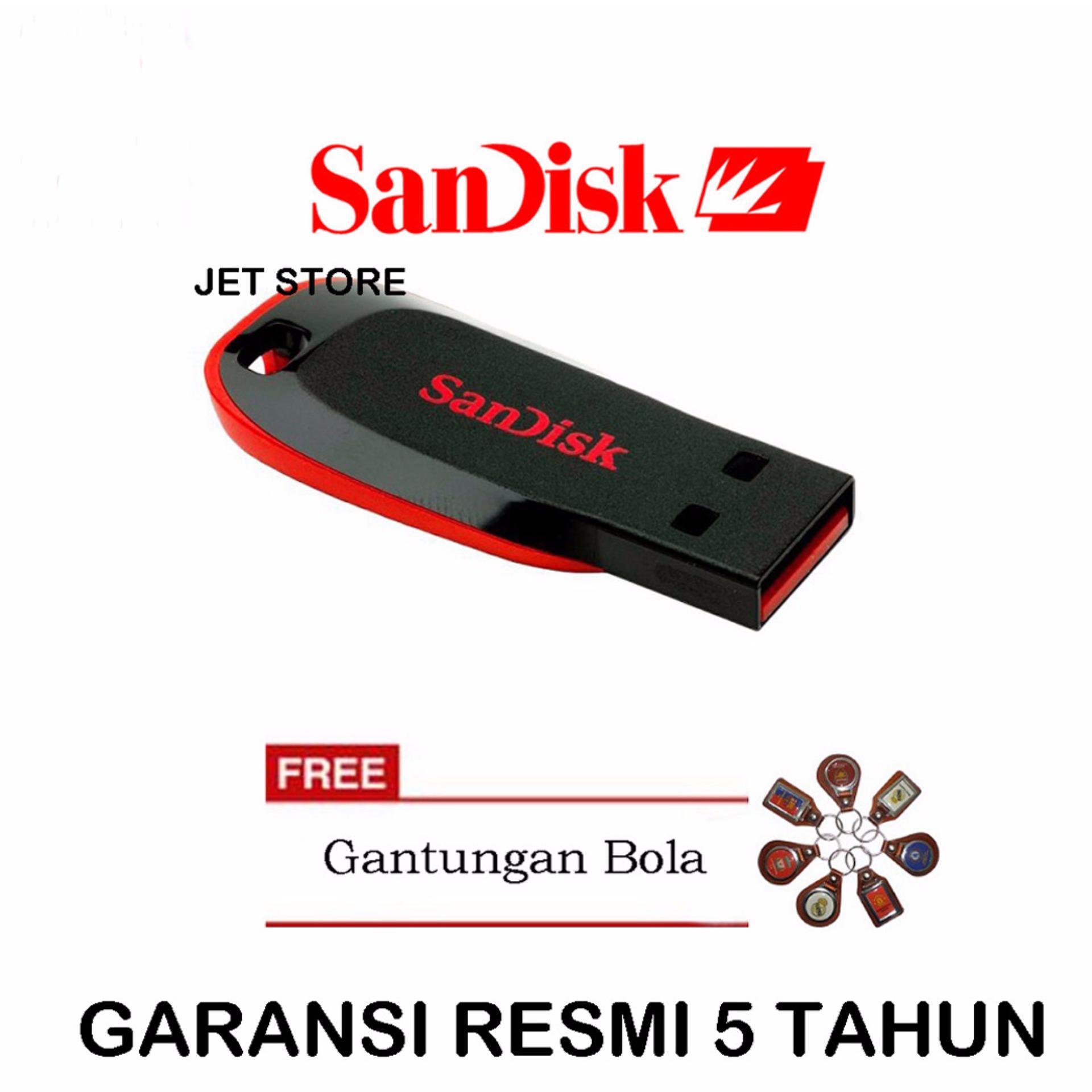 Jual Sandisk Flash Disk Usb 8Gb Cruzer Blade Cz50 Hitam Gantungan Bola Baru