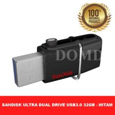 SanDisk Flashdisk OTG Ultra Dual USB Drive 3.0 32GB speed upto 150MBps ORIGINAL GARANSI RESMI 5 TAHUN - HITAM