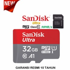 SanDisk Memory Card Ultra MicroSDHC 32GB A1 98MB/s With Adapter - Merah
