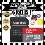Harga Sandisk Ultra Memory Card Micro Sdhc 32Gb 80Mb S Uhs 1 Class 10 Gratis Card Reader Microsd Branded