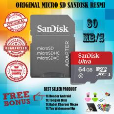 SanDisk Ultra MicroSDHC 80MB/s 64GB Class 10 UHS-1 With Micro SDHC - SD Card Adapter - Gratis Reader Android + Tongsis Mini + Iring Stand Hp + Tas Waterproof