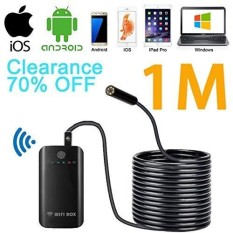 Sansido Endoscope Kamera WIFI Endoskopi Borescope Kamera 2.0 Juta Piksel HD 7 Mm 6 LED Anti-Air Ular Kamera dengan Rana untuk IOS Android iPhone 7/7 Plus/6/6 S, iPad Pro, Samsung (WIFIBOX-Endoscope-1M)-Internasional