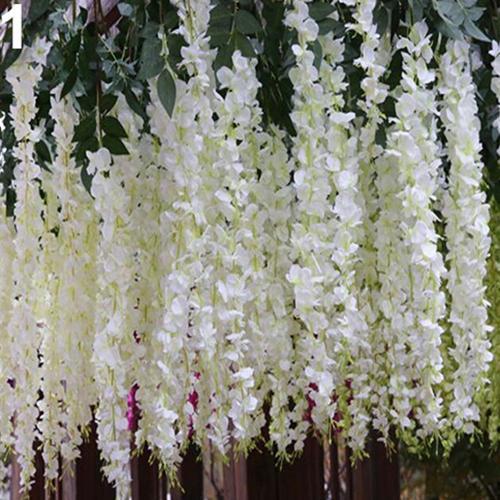 Sanwood® bunga Wisteria anggur buatan Sutra bunga dekorasi pernikahan pesta kebun gantung (putih) - International