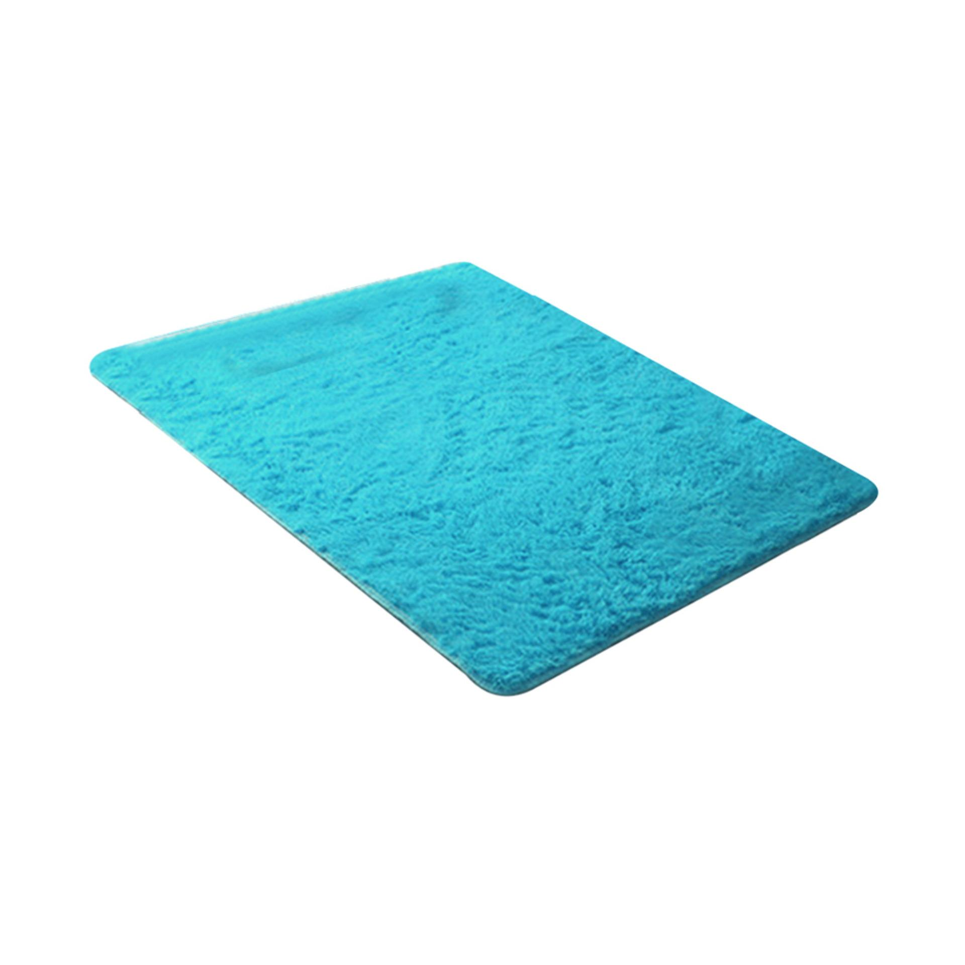 Sanwood® Modern Permen Warna Lembut Anti-Selip Karpet Flokati Berbulu Karpet Ruang Tamu Kamar Tidur Lantai Mat 40 Cm Oleh 60 Cm (Biru Muda) -Intl