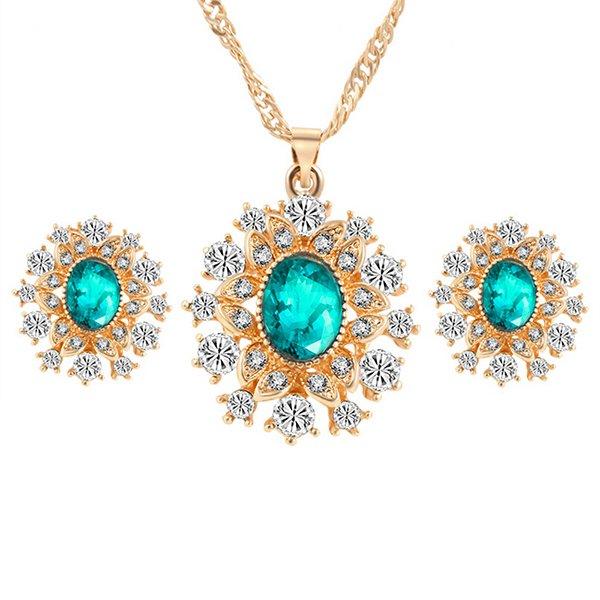 Beli Sanwood® Pengantin Pernikahan Pasangan Anting Anting Perhiasan Set Kalung Bunga Salju Hijau Sanwood Online