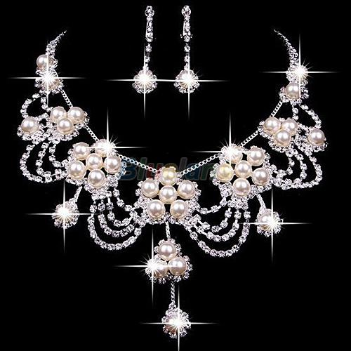 Sanwood® Sliver Disepuh Berlian Imitasi Crystal Faux Pearl Kalung + Anting Perhiasan Set untuk Bride Bridal Wedding 9OZF-Intl