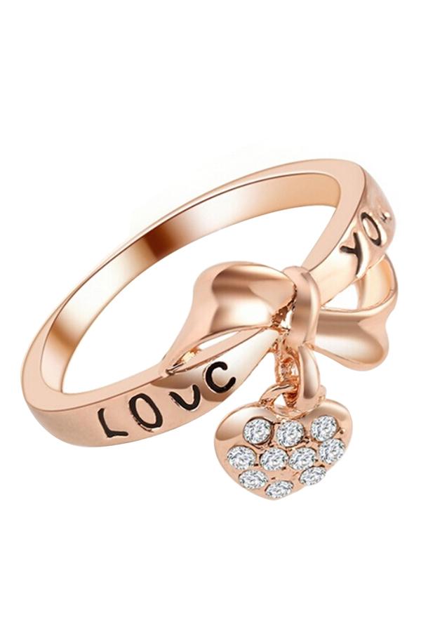 Sanwood Wanita Modis Cinta Mawar Gold Berlapis Berlian Buatan Pernikahan Pesta Cincin Ukuran AS 8