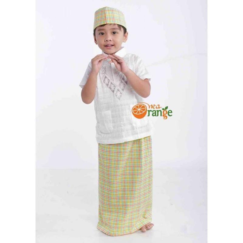 Sarung Instan + Baju Koko + Peci Anak Laki-laki Nea Orange