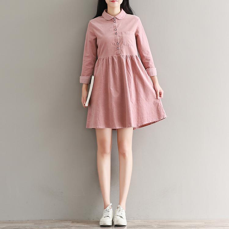Beli Sastra Kain Korduroi Lengan Panjang Warna Solid Musim Gugur Gaun Pasta Kacang Merah Merah Baju Wanita Dress Wanita Gaun Wanita Kredit Indonesia