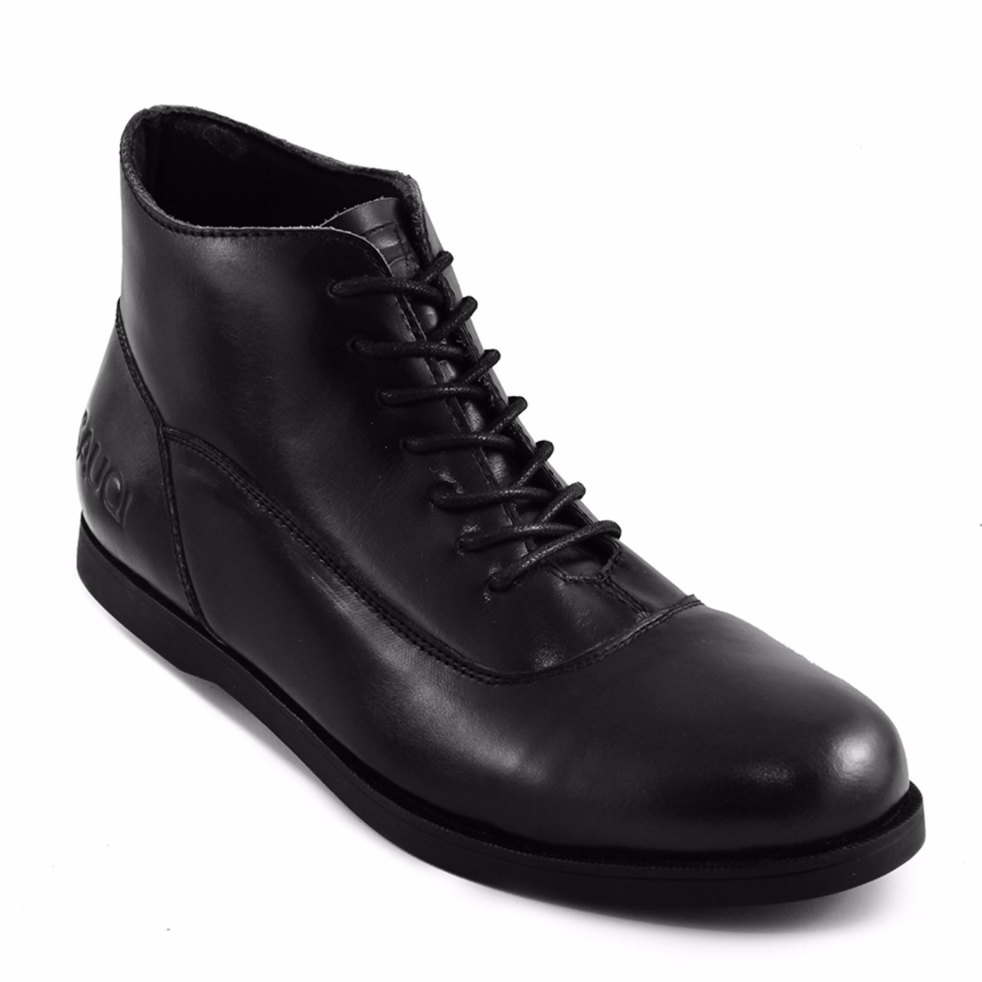 Jual Sauqi Footwear Spectre Sepatu Kulit Asli Boots Pria Casual Formal Kantor Black Online