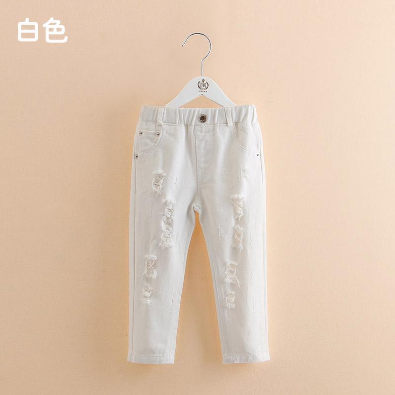Sayang Kz-a921 Baru Gadis Anak Kasual Celana Panjang Celana Jeans Sobek (Putih)