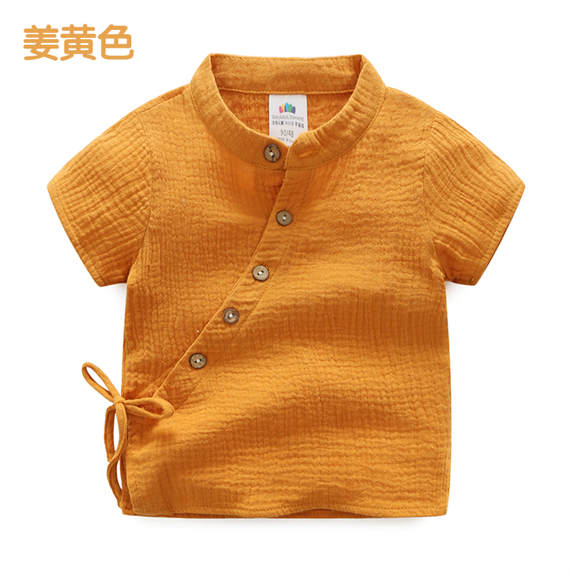 Harga Sayang Tx 8207 Baru Anak Anak Stand Up Kerah Pakaian Adat Tiongkok Lengan Pendek Kemeja Retro Kemeja Jahe Kuning Terbaik