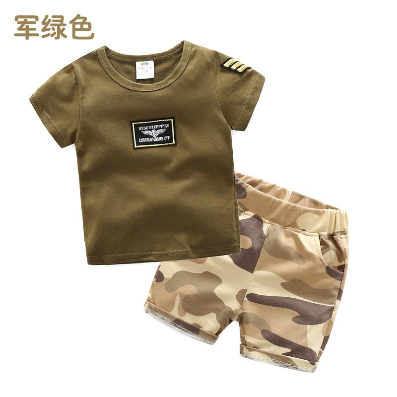 Top 10 Sayang Tz 3491 Korea Fashion Style Baru Anak Anak Lengan Pendek Celana Pendek Kamuflase Set Tentara Hijau Online