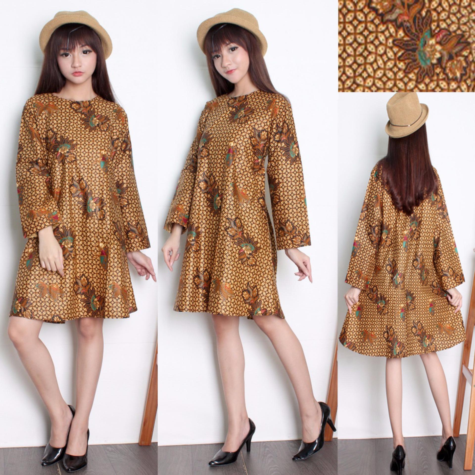 SB Collection Atasan Tunik Sari Blouse Kemeja Wanita Batik - Coklat