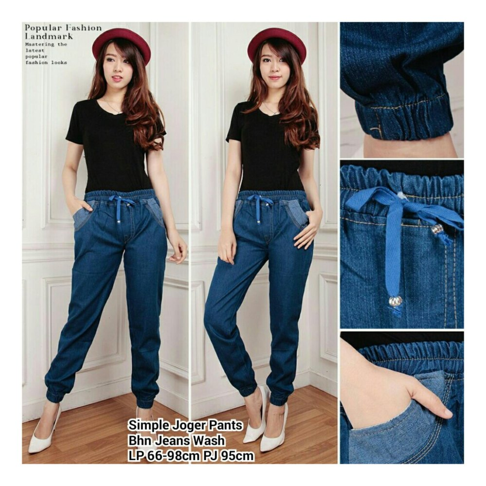 Beli Sb Collection Celana Panjang Simple Joger Jeans Pant Biru Tua Murah Di Banten