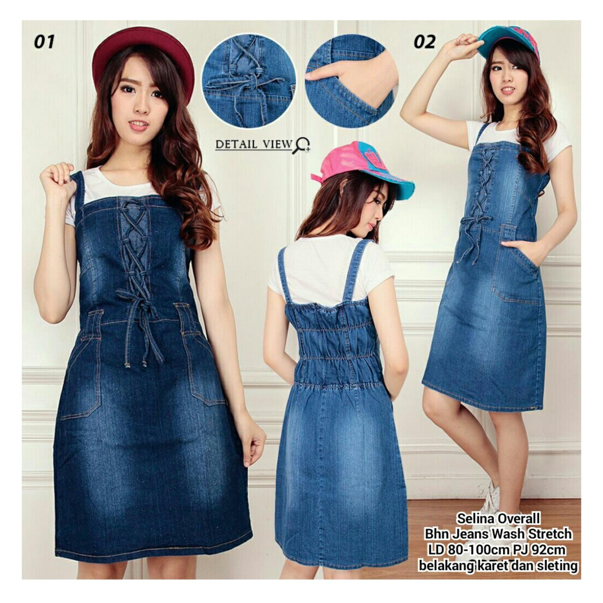 SB Collection Dress Selina Jeans Overall-Biru Muda