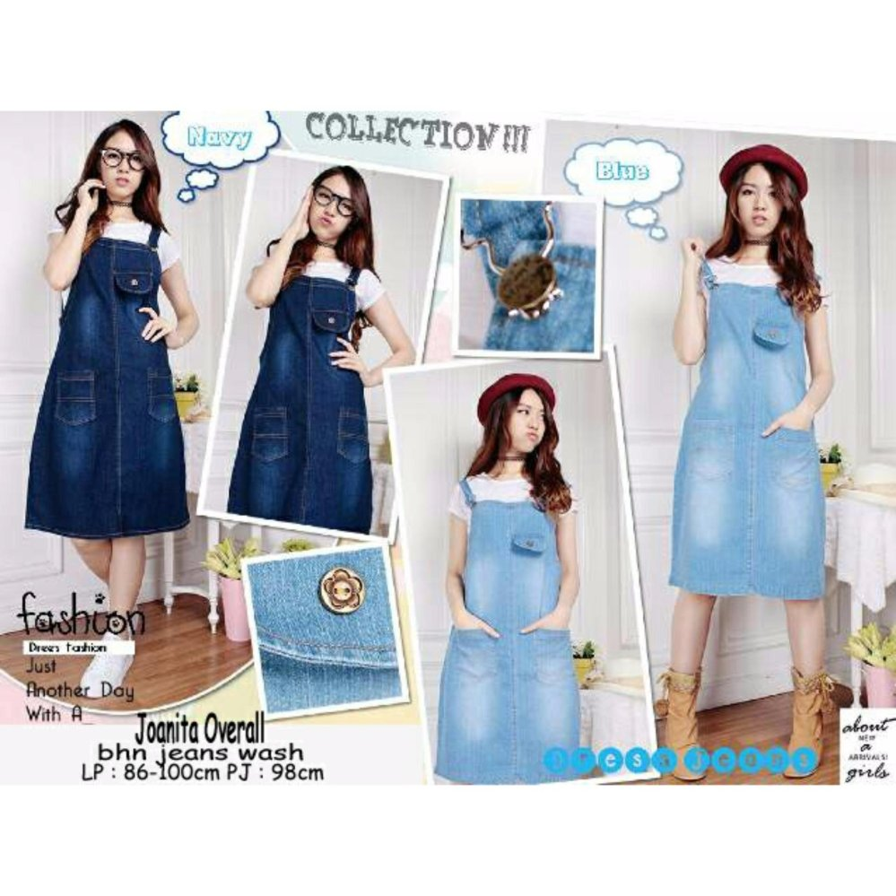 Review Sb Collection Joanita Overall Jeans Biru Tua Free Inner Terbaru