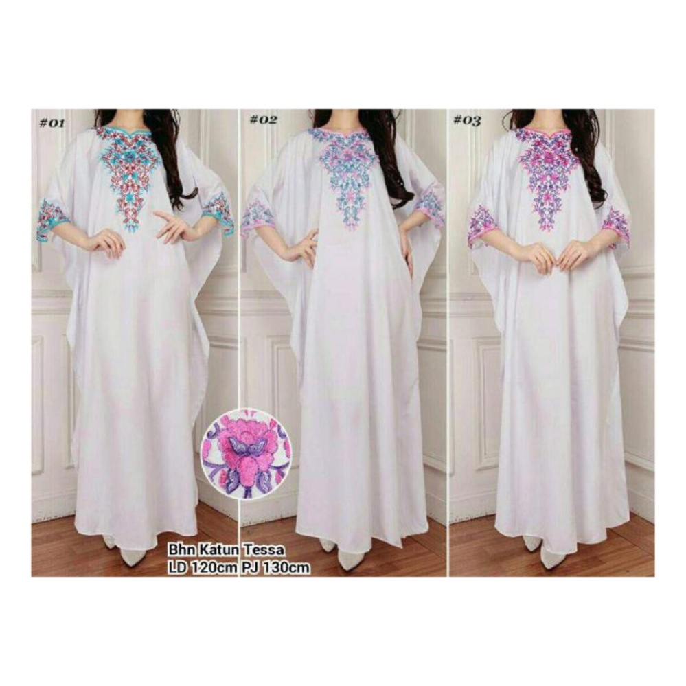 SB Collection Kaftan Queenta Maxi Dress Bordir Gamis Jumbo-03 Putih