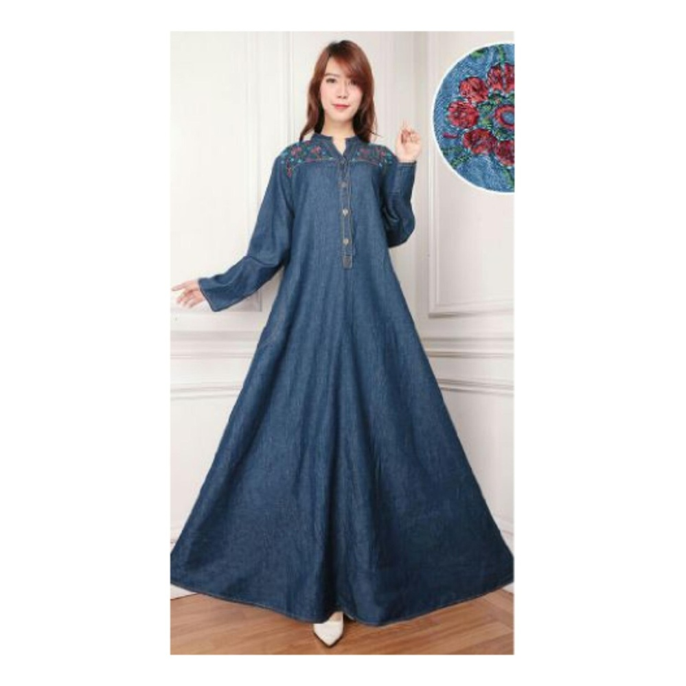 Spesifikasi Sb Collection Maxi Dress Andrea Jeans Jumbo Gamis Bordir Biru Tua