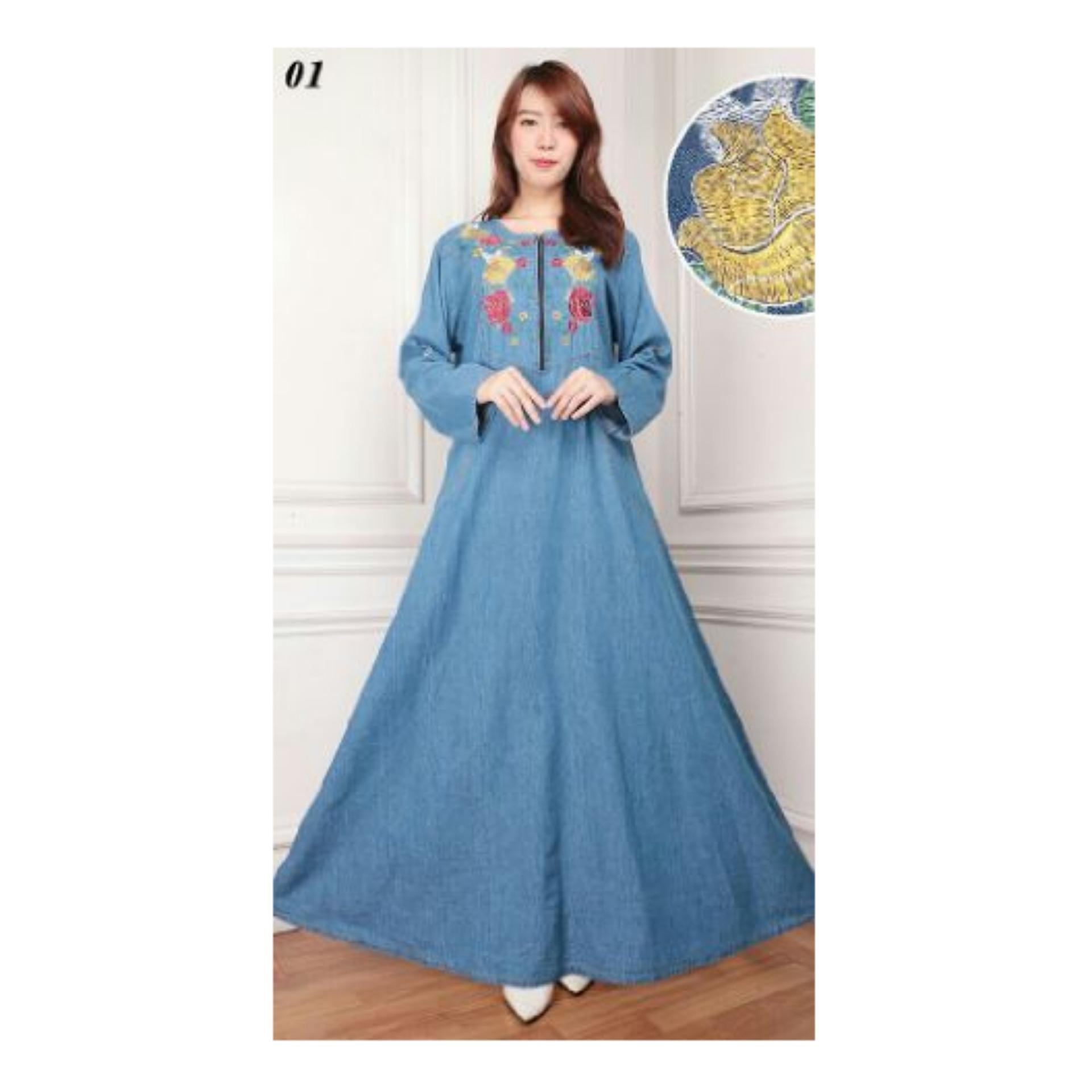 Spesifikasi Sb Collection Maxi Dress Berlita Jeans Jumbo Gamis Bordir Biru Muda Dan Harganya