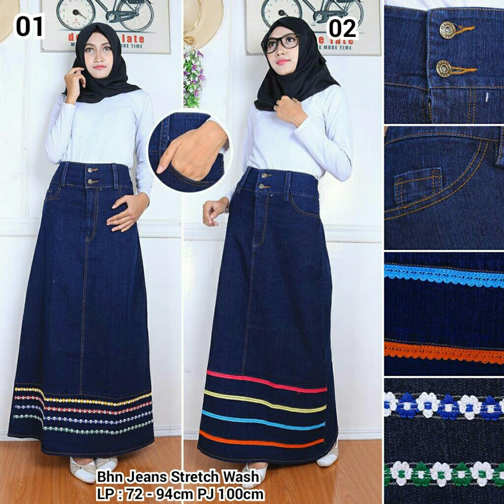 Spesifikasi Sb Collection Rok Maxi Jeans Sinta Long Skirt 02 Biru Tua Yg Baik