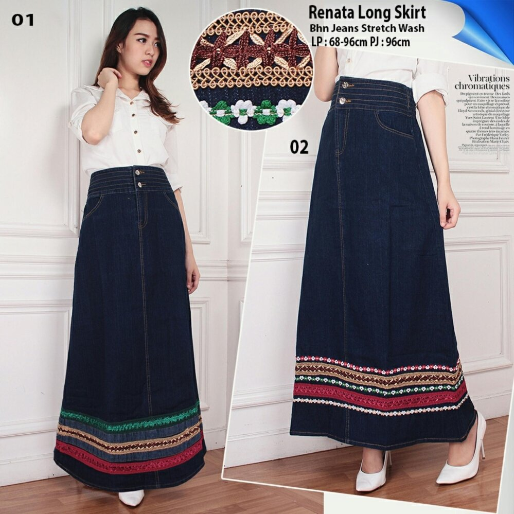 Spesifikasi Sb Collection Rok Panjang Renata Long Skirt Biru Tua 01