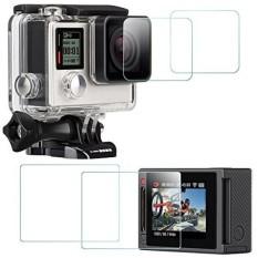 Pelindung Layar untuk GoPro HERO 4 Hitam/Perak (Layar dan Lensa), Afunta 2 Pack (4 Pcs) HERO4 Anti Gores Tahan Air Kaca Antigores Aksesori Film-Intl