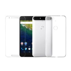 Screen Tempered Glass + Ultra Thin Clear TPU Soft back Phone Case For Huawei Google Nexus 6P - intl