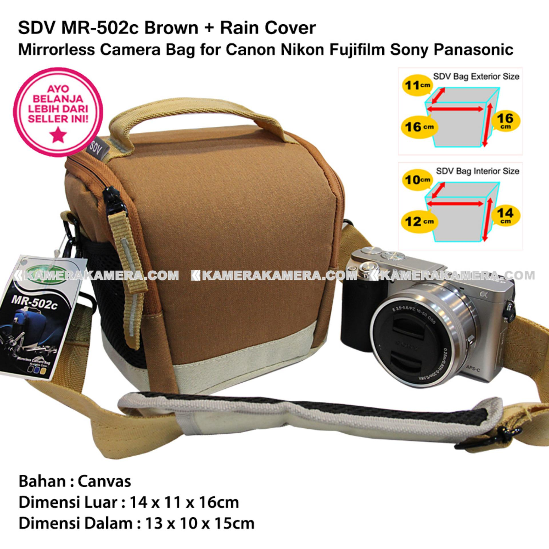 SDV MR-502c Brown Canvas Bag with Rain Cover Tas Kamera Mirrorless Canon Nikon Sony FujiFilm Panasonic Olympus Samsung