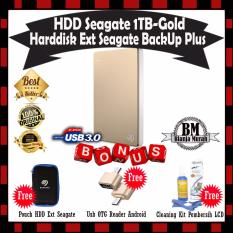 Seagate Backup Plus Slim 1TB - HDD - HD - Hardisk External 2.5 - Gold GRATIS Pouch Hdd + Usb OTG Reader Mini & Cleaning Kit Pembersih LCD Pc Laptop