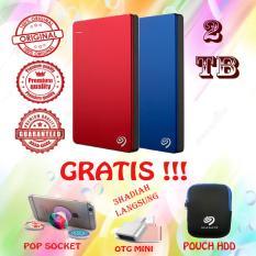 Seagate Backup Plus Slim 2TB - HDD - HD - Hardisk External 2.5 - Biru - Gratis Otg Mini + Pop Socket + Pouch