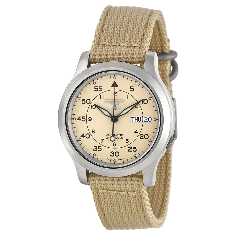 Review Tentang Seiko 5 Automatic Military 21 Jewels Jam Tangan Pria Beige Strap Nilon Snk803K2
