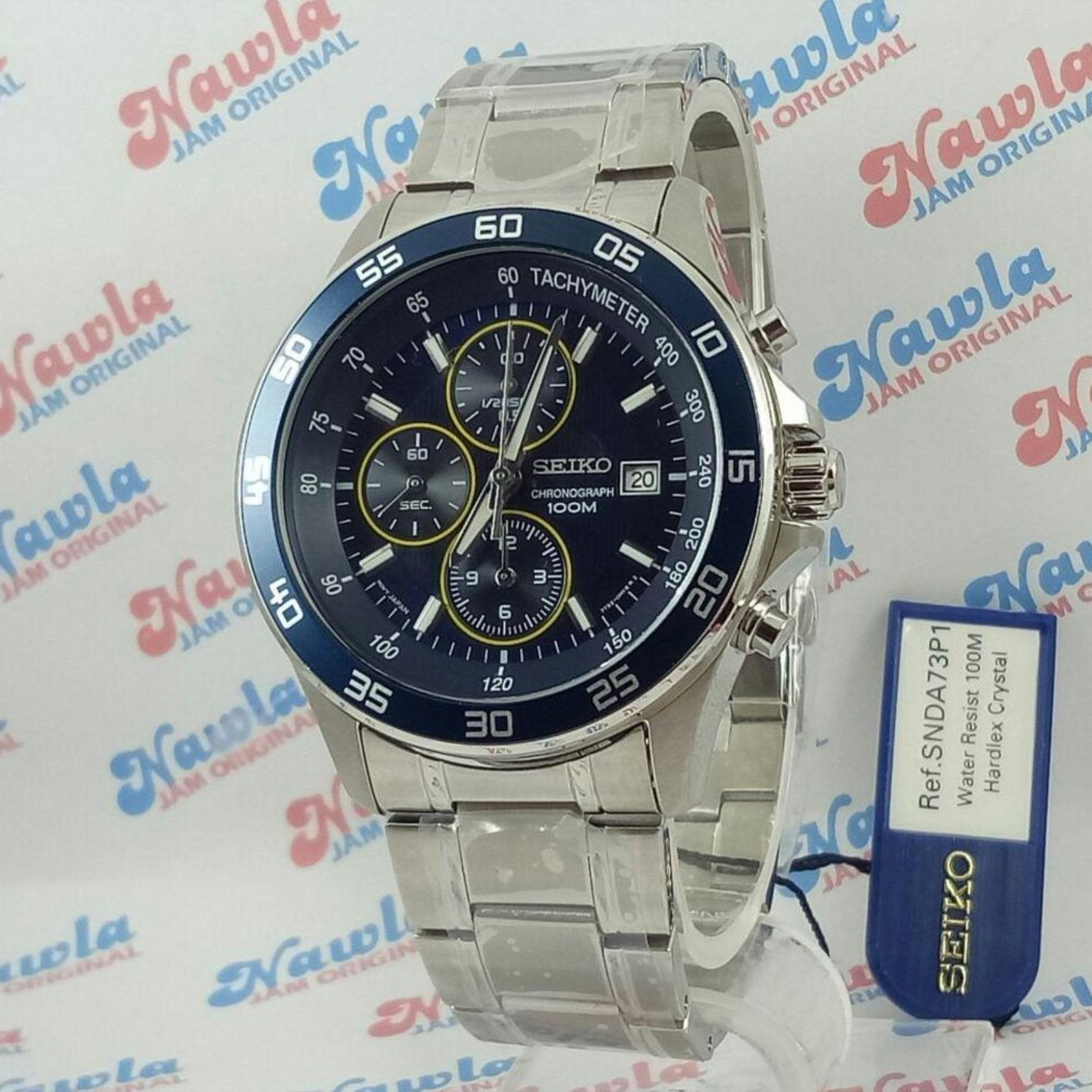 Spesifikasi Seiko Quartz Snda73P1 Chronograph Blue Bezel Jam Tangan Pria Snda73 Murah