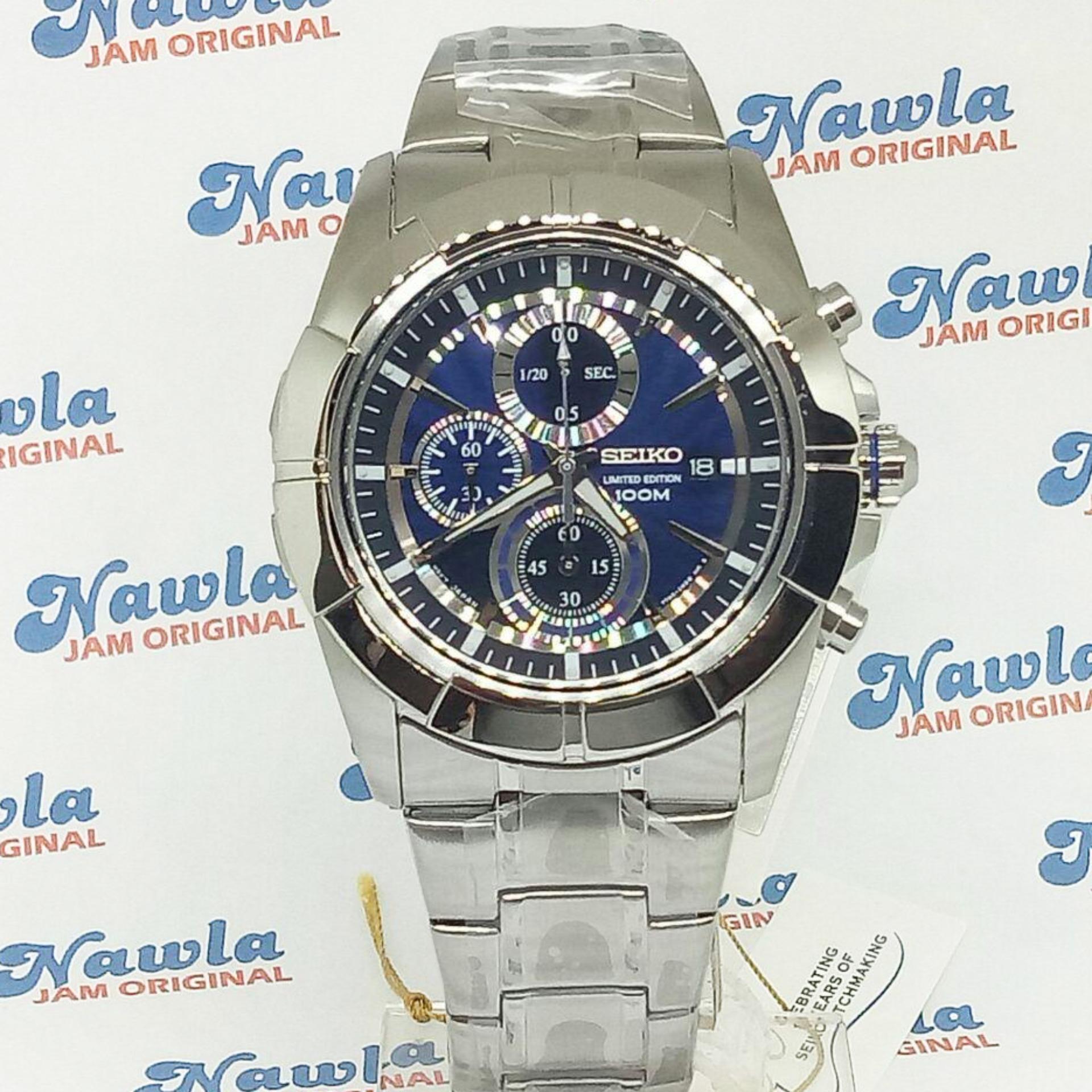 Diskon Seiko Quartz Snde79P1 Chronograph Blue Dial Jam Pria Snde79 Seiko Di Jawa Timur