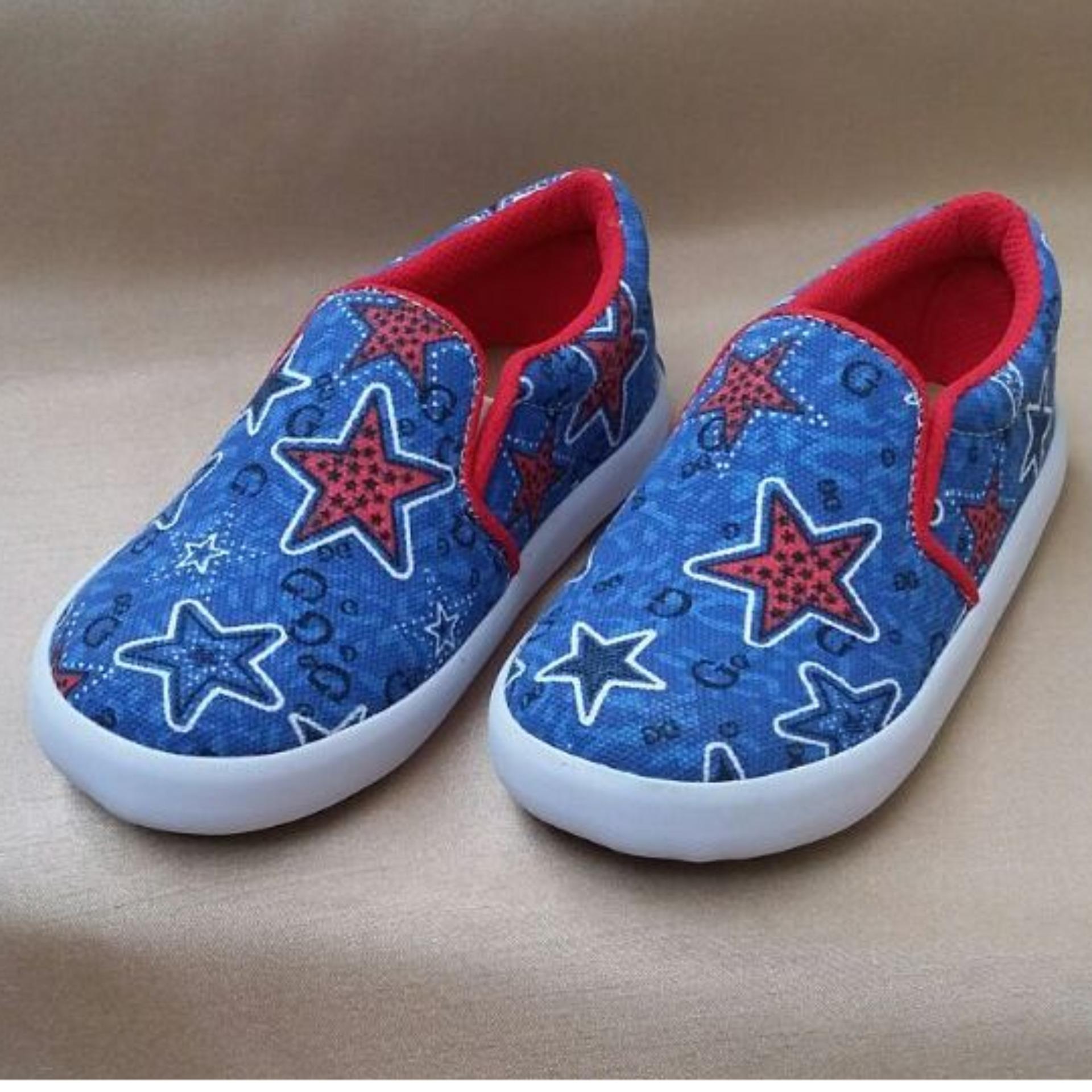 Promo Sepatu Anak Laki Laki Model Slip On Biru Merah Motif Bintang Biru Akhir Tahun