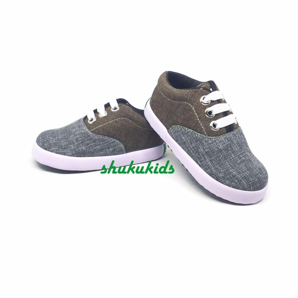 Spesifikasi Sepatu Anak Laki Laki Murah Trendy Casual Stylist Abu Coklat Paling Bagus