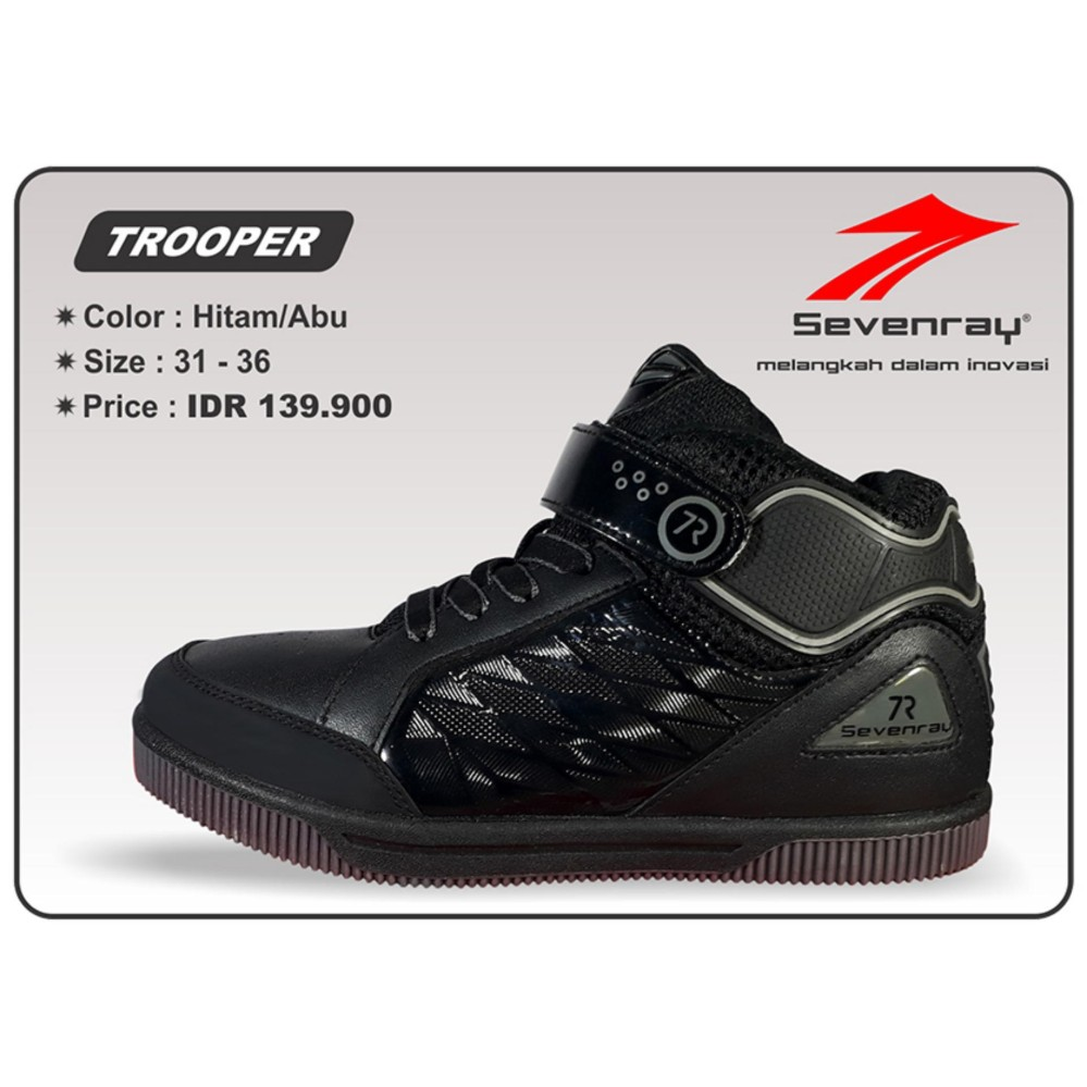 Promo Sepatu Anak Laki Laki Sevenray Trooper Hitam Abu