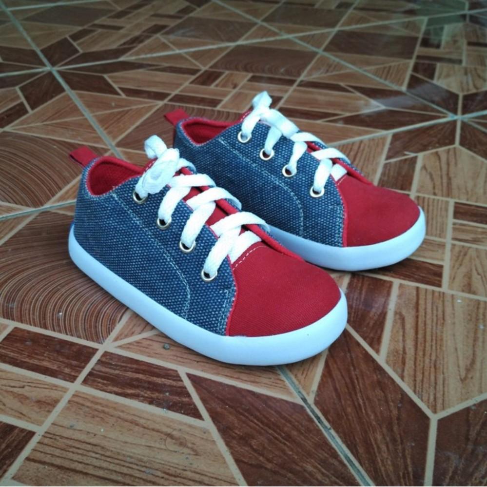 Sepatu Anak Laki-Laki Sneaker Trendy Casual Stylist Abu Merah Tali