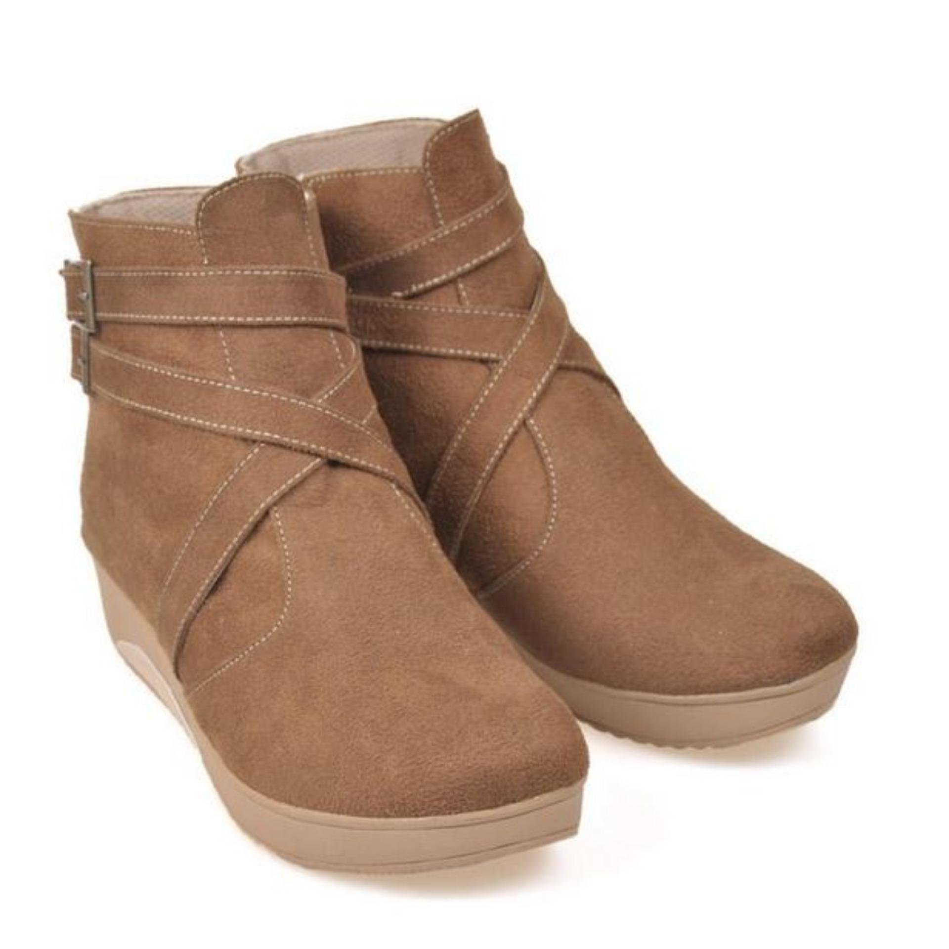 Diskon Sepatu Boot Casual Flat Wanita Jodhpur Zipper Boots Bji674