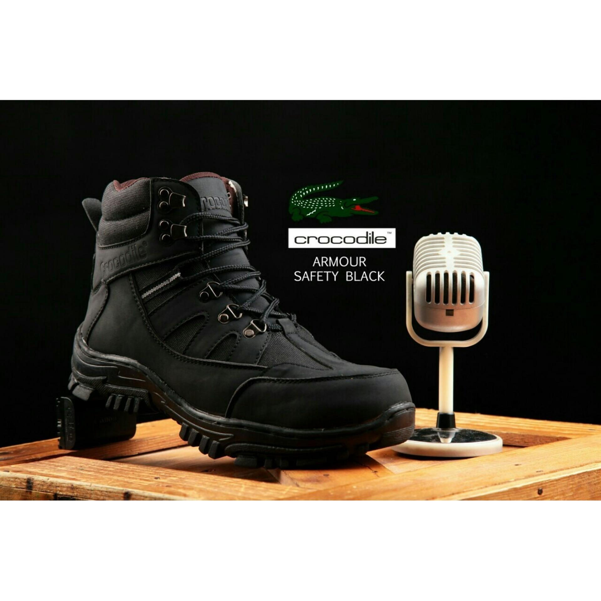 sepatu Boots pria Crocodile armor safety black