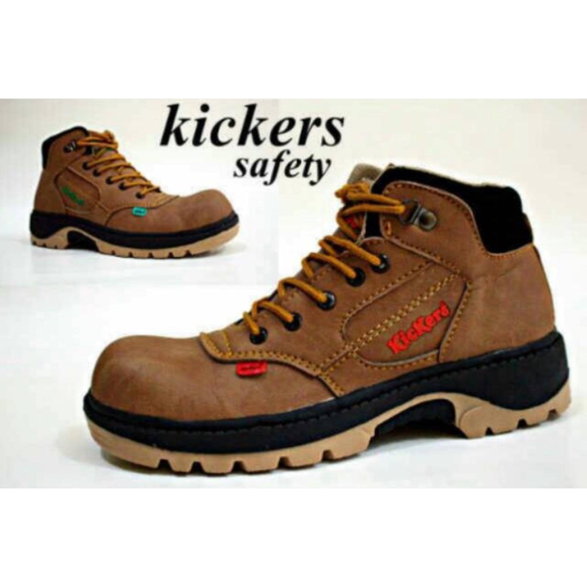Berapa Harga Sepatu Boots Safety Kickers Pria Hitam Brown Tan Cream Di Jawa Barat